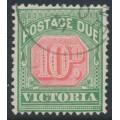 AUSTRALIA / VIC - 1895 10d rosine/bluish green Postage Due, CTO – SG # D17