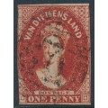 AUSTRALIA / TAS - 1855 1d carmine Chalon, imperf., large star watermark, used – SG # 14