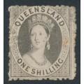 AUSTRALIA / QLD - 1863 1/- grey QV Chalon, no watermark, perf. 13, used – SG # 29