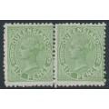 AUSTRALIA / QLD - 1882 6d green QV side-face, perf. 12:12, crown Q watermark, horizontal pair, MNG – SG # 170