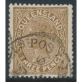 AUSTRALIA / QLD - 1890 3d brown QV side-face, crown Q watermark, 'LA joined', used – SG # 192