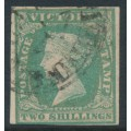 AUSTRALIA / VIC - 1854 2/- dull bluish green on pale yellow QV, imperforate, used – SG # 35