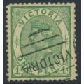 AUSTRALIA / VIC - 1878 1d yellow-green on yellow QV, emergency printing, used – SG # 196