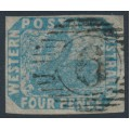 AUSTRALIA / WA - 1854 4d pale blue Swan, imperforate with swan watermark, used – SG # 3