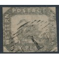 AUSTRALIA / WA - 1859 6d grey-black Swan, imperforate with swan watermark, used – SG # 19