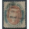 AUSTRALIA / NSW - 1860 6d rose-red/Prussian blue REGISTERED stamp, perf. 12:12, used – SG # 121