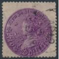 AUSTRALIA / NSW - 1872 5/- royal purple Coin, perf. 13:13, '5/~' watermark, used – SG # 175