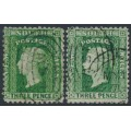 AUSTRALIA / NSW - 1872 3d Diadem, perf. 13:13, '6' watermark, both shades, used – SG # 157a+158a