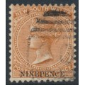 AUSTRALIA / NSW - 1897 9d on 10d red-brown Diadem, perf. 12:12, used – SG # 236db