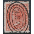 AUSTRALIA / NSW - 1886 1d scarlet Diadem, perf. 10:10, large NSW watermark, used – SG # 243a