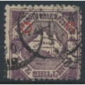 AUSTRALIA / NSW - 1890 5/- deep purple Map of Australia, perf. 10:10, overprinted OS in red, used – SG # O47