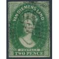 AUSTRALIA / TAS - 1855 2d green Chalon, imperf., large star watermark, used – SG # 16