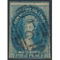 AUSTRALIA / TAS - 1855 4d blue Chalon, imperf., large star watermark, used – SG # 18