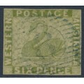 AUSTRALIA / WA - 1861 6d sage green Swan, imperforate with swan watermark, used – SG # 28