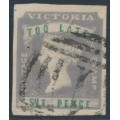 AUSTRALIA / VIC - 1855 6d lilac/green QV 'TOO LATE' stamp, imperforate, used – SG # 33