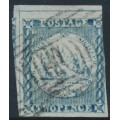 AUSTRALIA / NSW - 1850 2d dull blue Sydney Views, plate I, used – SG # 18