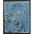 AUSTRALIA / NSW - 1851 2d ultramarine Laureates, imperf., worn plate, used – SG # 56