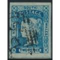 AUSTRALIA / NSW - 1854 2d Prussian blue Laureates, imperforate, '2' watermark, used – SG # 85