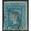 AUSTRALIA / NSW - 1854 2d chalky blue Laureates, imperforate, '2' watermark, used – SG # 86