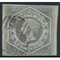 AUSTRALIA / NSW - 1854 6d grey Diadem, imperforate, '6' watermark, used – SG # 94