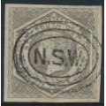 AUSTRALIA / NSW - 1854 6d olive-grey Diadem, imperforate, '6' watermark, used – SG # 95