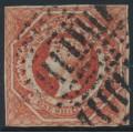 AUSTRALIA / NSW - 1854 1/- deep rosy vermilion Diadem, imperforate, '12' watermark, used – SG # 99