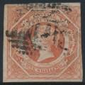 AUSTRALIA / NSW - 1854 1/- rosy vermilion Diadem, imperforate, '12' watermark, used – SG # 99