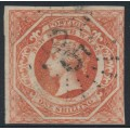 AUSTRALIA / NSW - 1857 1/- rosy vermilion Diadem, imperforate, '8' watermark, used – SG # 99a