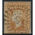 AUSTRALIA / NSW - 1856 1d orange-vermilion Diadem, imperf., '1' watermark, used – SG # 107
