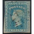 AUSTRALIA / NSW - 1856 2d pale blue Diadem, imperf., '2' watermark, plate I, used – SG # 113