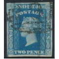 AUSTRALIA / NSW - 1856 2d blue Diadem, imperf., '2' watermark, plate I, used – SG # 112