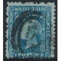 AUSTRALIA / NSW - 1860 2d greenish blue Diadem, perf. 12:12, '2' watermark, used – SG # 134