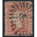 AUSTRALIA / NSW - 1862 1d dull red Diadem, perf. 13:13, '1' watermark, used – SG # 155
