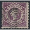 AUSTRALIA / NSW - 1866 6d purple Diadem, perf. 13:13, '5' watermark, used – SG # 165a