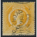 AUSTRALIA / NSW - 1862 8d yellow-orange Diadem, perf. 13:13, '8' watermark, used – SG # 167b