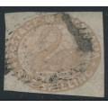 AUSTRALIA / WA - 1855 1/- pale brown Swan, swan watermark, imperforate, used – SG # 4c