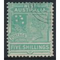 AUSTRALIA / WA - 1902 5/- emerald-green QV, V crown watermark, CTO – SG # 126