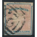 AUSTRALIA / VIC - 1854 1/- rose-pink/blue 'REGISTERED' stamp, imperforate, used – SG # 34
