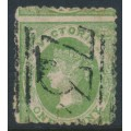 AUSTRALIA / VIC - 1859 1d dull green Emblems, perf. 12:12, horizontally laid paper, used – SG # 86a
