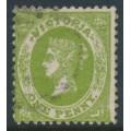 AUSTRALIA / VIC - 1860 1d bright green Emblems, perf. 12:12, no watermark, used – SG # 97