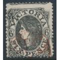 AUSTRALIA / VIC - 1862 6d grey-black QV, perf. 13:13, single-lined '6' watermark, used – SG # 107ca