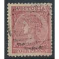 AUSTRALIA / VIC - 1865 4d rose Laureates, perf. 13:13, single-lined '4' watermark, used – SG # 114b