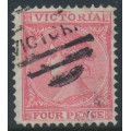 AUSTRALIA / VIC - 1880 4d bright lilac-rose [aniline] Laureates, perf. 12, V crown watermark, used – SG # 144d