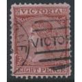 AUSTRALIA / VIC - 1880 8d red-brown/pink Laureates, perf. 12, V crown watermark, used – SG # 146
