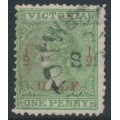 AUSTRALIA / VIC - 1873 ½d on 1d green Laureates, perf. 13:13, used – SG # 174