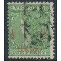 AUSTRALIA / VIC - 1873 ½d on 1d grass green Laureates, perf. 13:13, used – SG # 174a
