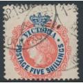 AUSTRALIA / VIC - 1901 5/- scarlet/deep blue QV, perf. 12½, V crown watermark, used – SG # 398a
