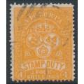 AUSTRALIA / VIC - 1886 4/- red-orange Stamp Duty, perf. 12½:12½, used – SG # 269