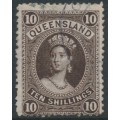 AUSTRALIA / QLD - 1882 10/- brown large Chalon, first Q crown watermark, used – SG # 155