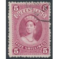 AUSTRALIA / QLD - 1886 5/- rose Large Chalon, thick paper, CTO – SG # 159